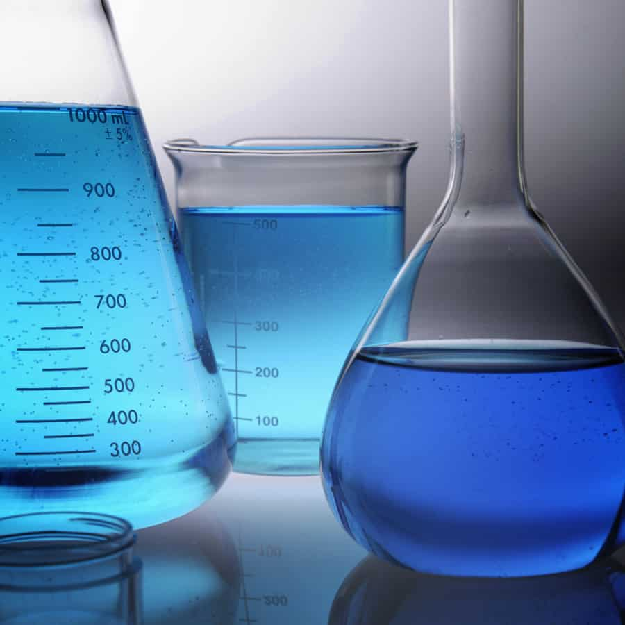 Blue Liquid in Beakers